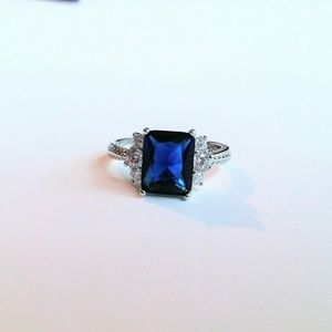 Size 8 925 Sterling Silver Blue Sapphire Ring New